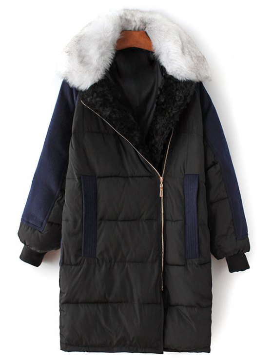 Wool Panel Fur Collar Quilted Coat - BLACK S Mobile