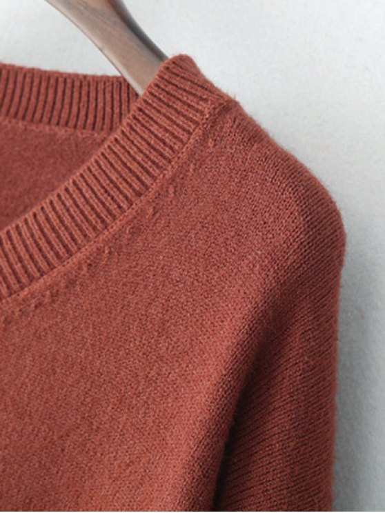 V Neck Long Sleeve Pullover Knitwear - BRICK-RED ONE SIZE Mobile