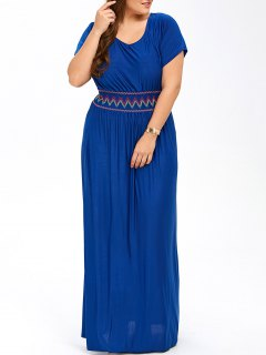 Plus Size Maxi Prom Dress With Short Sleeves - Blue 2xl