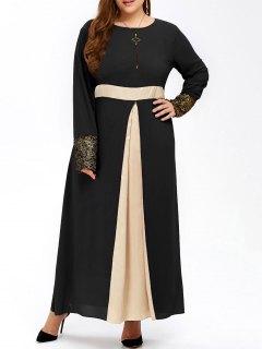 Plus Size Long Muslim Color Block Chiffon Maxi Dress - Black 2xl