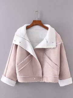 Faux Suede Fleece Trim Cropped Winter Jacket - Pink M