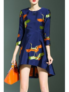 Crane Print High Low Dress - Blue S