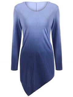Ombre V Neck Asymmetrical Tee - Purplish Blue 2xl