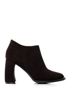 Side Zip Suede Chunky Heel Ankle Boots - Black 38