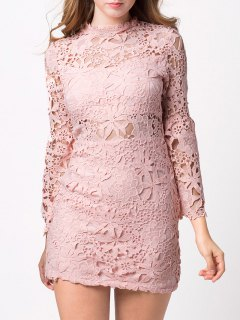 Cut Out Flare Sleeve Lace Dress - Pink Xs