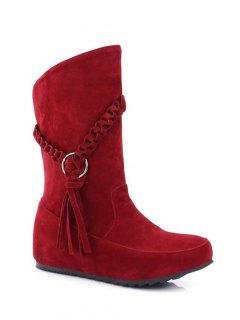 Tassels Weave Hidden Wedge Mid Calf Boots - Red 37