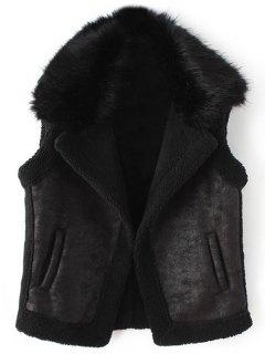 Detachable Fur Collar Suede Waistcost - Black Xl