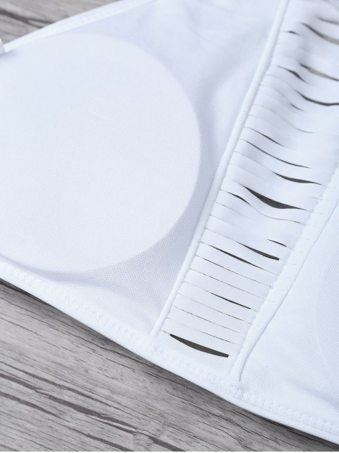 best Sheer Stripe High Neck Bikini Set - WHITE XL Mobile