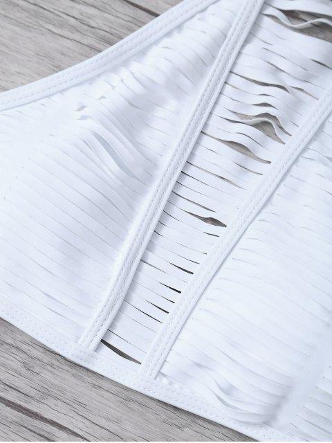 online Sheer Stripe High Neck Bikini Set - WHITE L Mobile