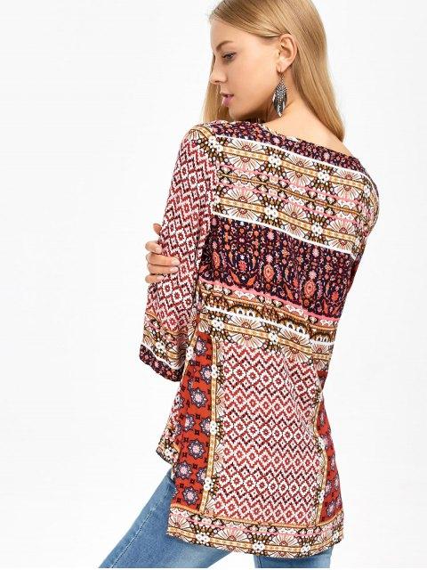 fashion Retro Print High Low Tee - COLORMIX M Mobile