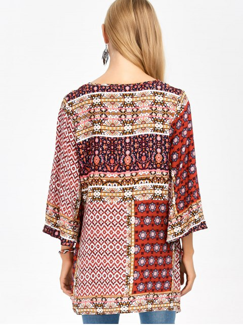 chic Retro Print High Low Tee - COLORMIX S Mobile