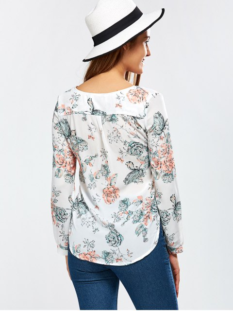 fancy High Low Floral Surplice Blouse - WHITE S Mobile