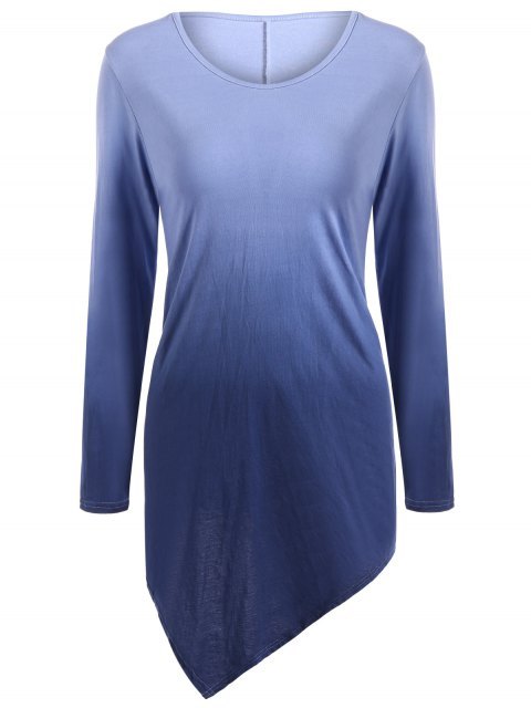 outfit Ombre V Neck Asymmetrical Tee - PURPLISH BLUE 2XL Mobile