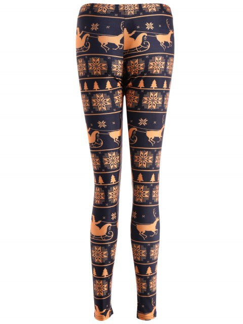 women's Snowflake Print Skinny Leggings - YELLOW AND BLACK XL Mobile