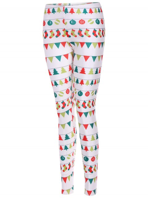 latest Christmas Holiday Skinny Leggings - WHITE L Mobile