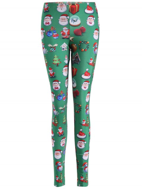 sale Santa Claus Skinny Leggings - GREEN S Mobile