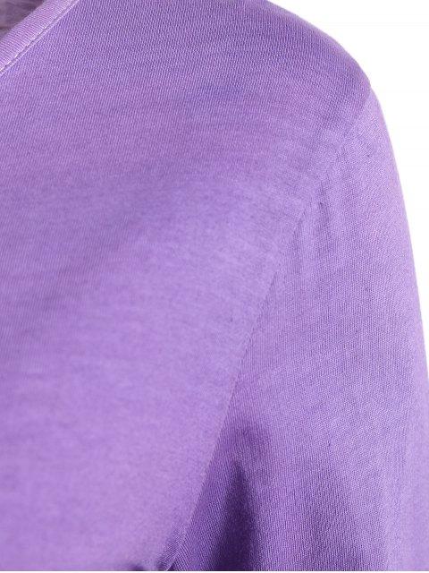 sale Ombre V Neck Asymmetrical Tee - PURPLE M Mobile