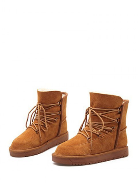 unique Suede Tie Up Tie Up Snow Boots - LIGHT BROWN 39 Mobile