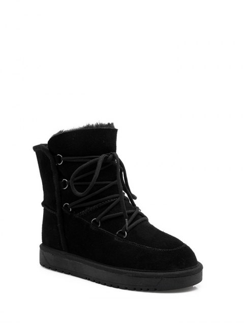women Suede Tie Up Tie Up Snow Boots - BLACK 38 Mobile