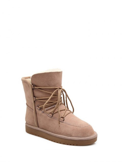 ladies Suede Tie Up Tie Up Snow Boots - APRICOT 37 Mobile