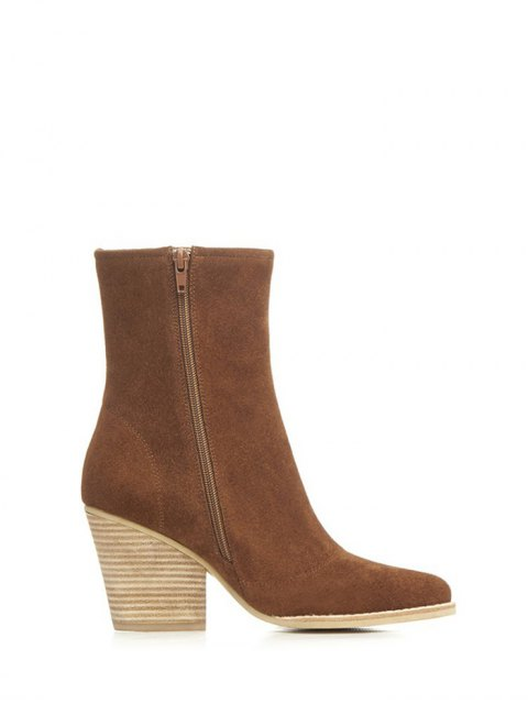 best Chunky Heel Pointed Toe Zip Short Boots - BROWN 39 Mobile