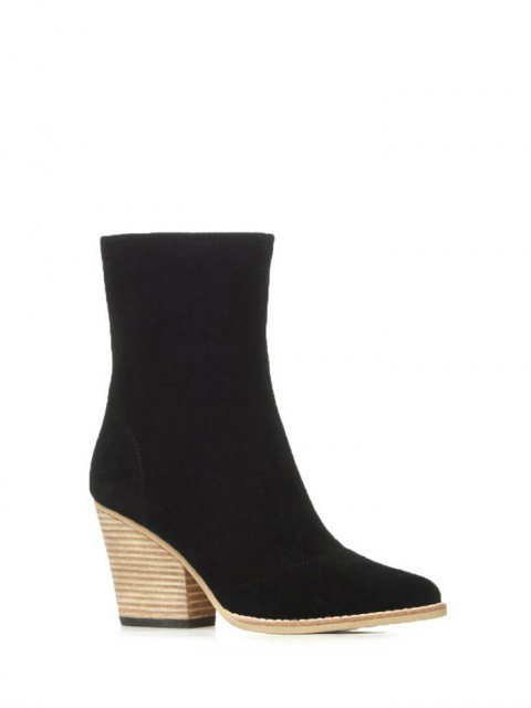 outfits Chunky Heel Pointed Toe Zip Short Boots - BLACK 38 Mobile