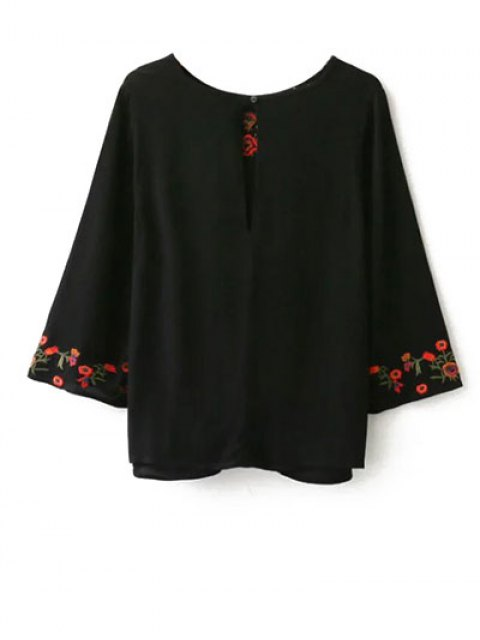 chic Embroidered Front Knot Blouse - BLACK L Mobile