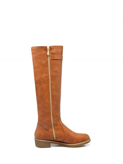 best Vintage Buckle Strap Knee High Boots - LIGHT BROWN 37 Mobile