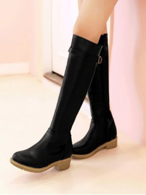 outfit Vintage Buckle Strap Knee High Boots - BLACK 38 Mobile