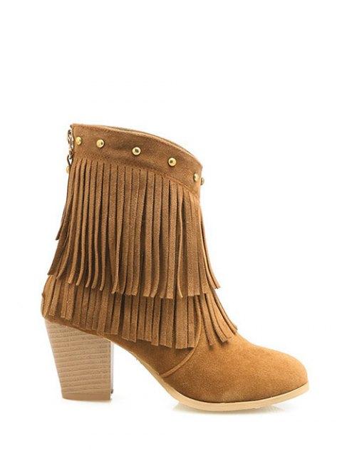 shop Chunky Heel Rivet Fringe Boots - BROWN 37 Mobile