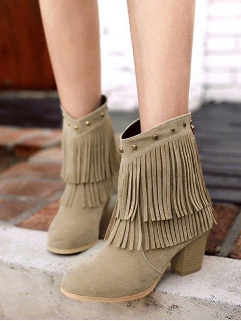 fancy Chunky Heel Rivet Fringe Boots - LIGHT KHAKI 37 Mobile