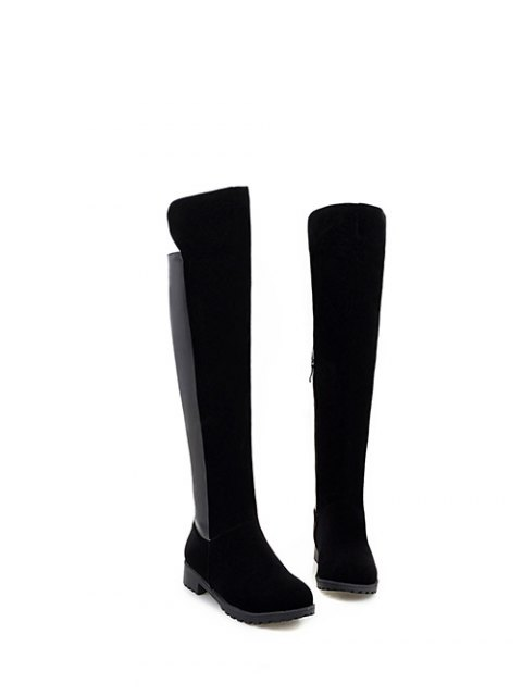sale PU Leather Panel Knee High Boots - BLACK 39 Mobile