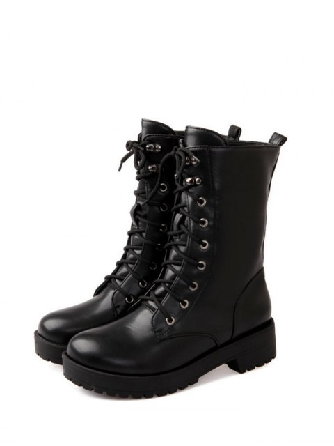 womens Chunky Heel Mid Calf Combat Boots - BLACK 39 Mobile