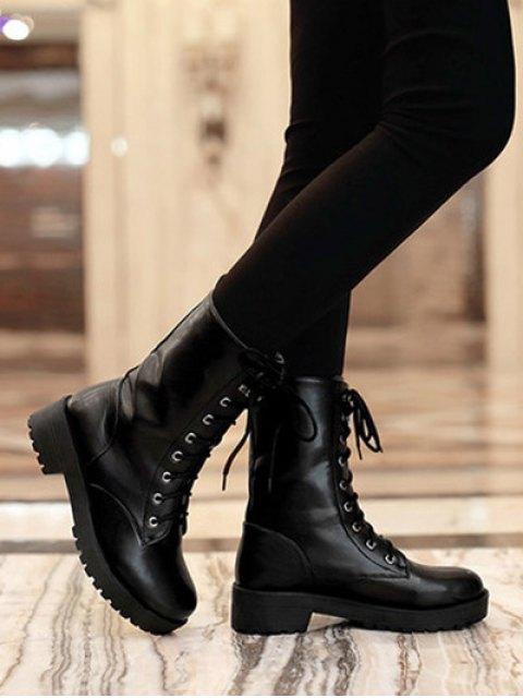 women Chunky Heel Mid Calf Combat Boots - BLACK 37 Mobile