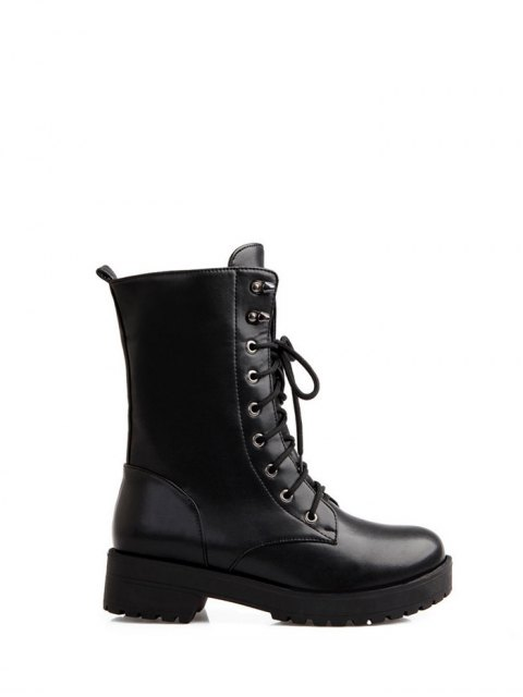 women's Chunky Heel Mid Calf Combat Boots -   Mobile