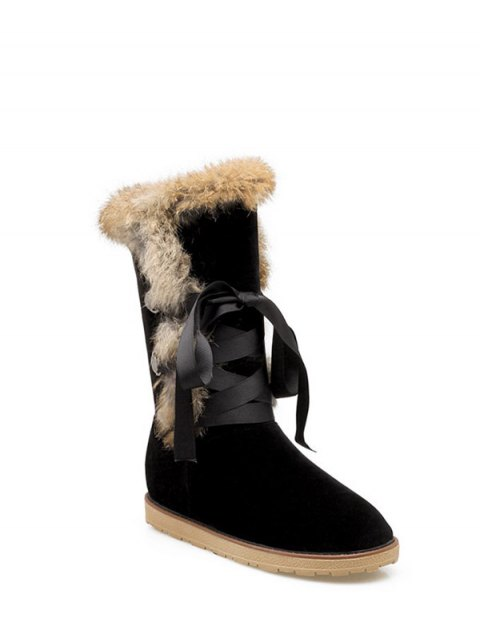 shop Ribbon Furry Snow Boots - BLACK 38 Mobile