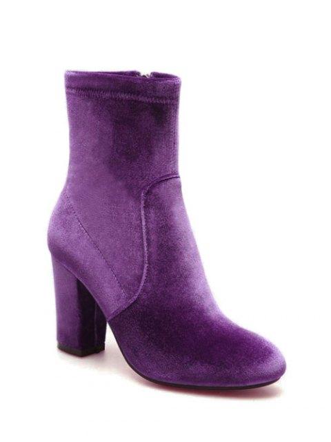affordable Chunky Heel Velvet Sock Boots - PURPLE 37 Mobile