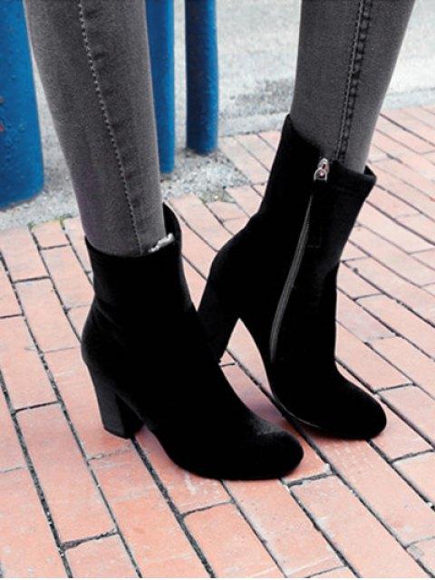 buy Chunky Heel Velvet Sock Boots - BLACK 37 Mobile