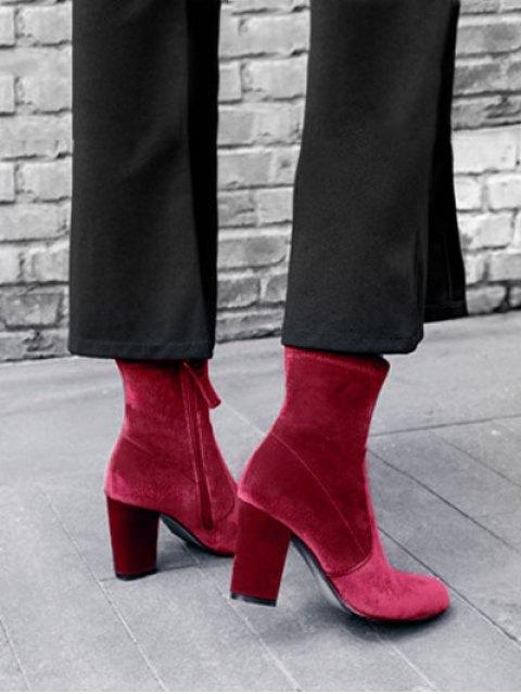 womens Chunky Heel Velvet Sock Boots - RED 37 Mobile