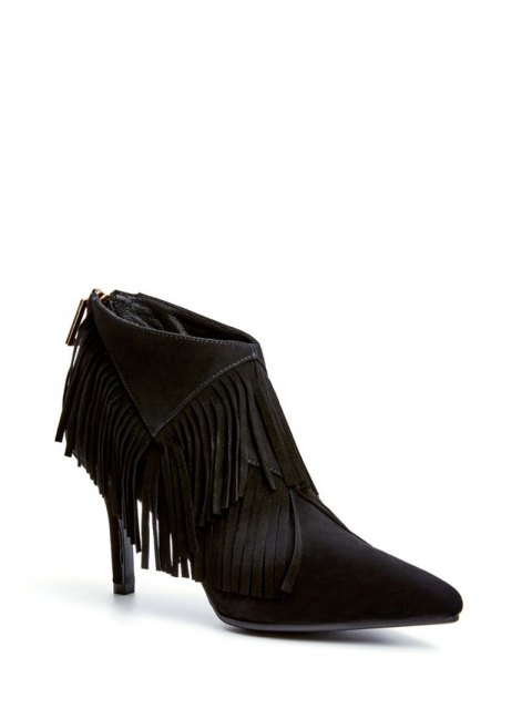 outfit Fringe Stiletto Heel Pointed Toe Boots - BLACK 38 Mobile