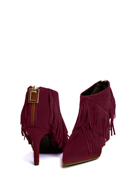 shop Fringe Stiletto Heel Pointed Toe Boots - WINE RED 37 Mobile
