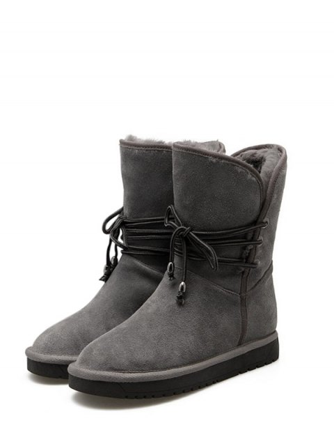 trendy Fold Down Fuzzy Snow Boots - GRAY 37 Mobile
