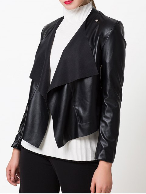 shop Snap Button Biker Jacket - BLACK 2XL Mobile
