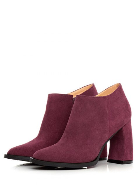buy Side Zip Suede Chunky Heel Ankle Boots - WINE RED 38 Mobile