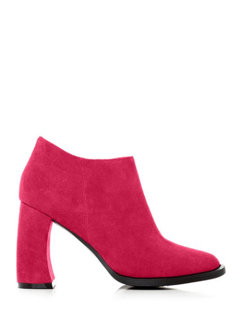 womens Side Zip Suede Chunky Heel Ankle Boots - ROSE RED 39 Mobile