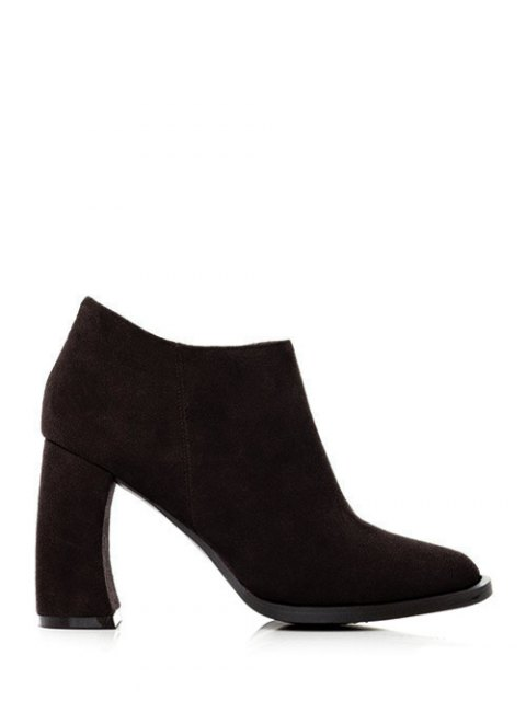 ladies Side Zip Suede Chunky Heel Ankle Boots - BLACK 39 Mobile