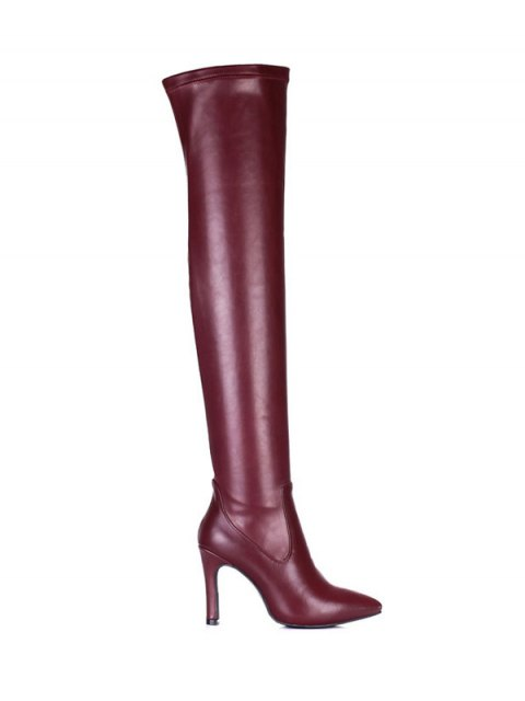 trendy Stiletto Heel Pointed Toe Leather Thigh Boots - WINE RED 38 Mobile