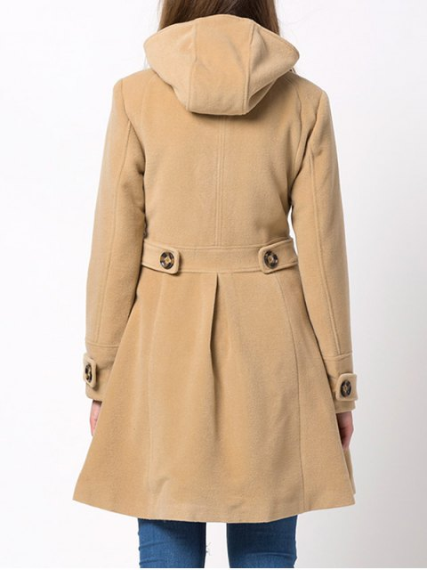 hot Hooded Skirted Duffle Coat - CAMEL XL Mobile