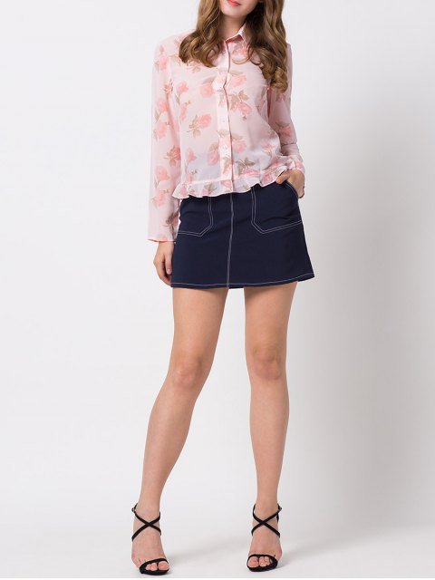 outfits Floral Ruffles Chiffon Blouse - PINK M Mobile