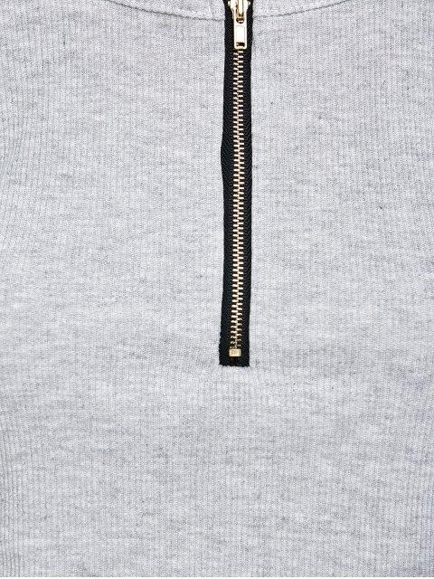 shops Cold Shoulder Zipper T-Shirt - GRAY XL Mobile